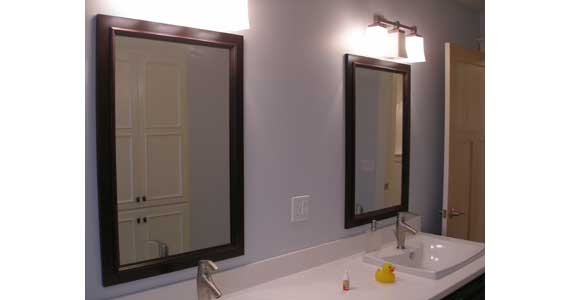 framed mirrors to match vanity mueller construction